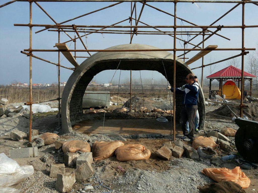 شیوه ساخت سازه های گنبدی بتنی با استفاد از قالب بادی